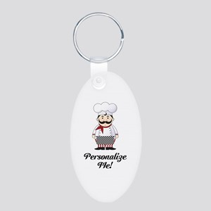 Personalized French Chef Aluminum Oval Keychain