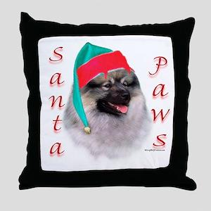 Santa Paws Keeshond Throw Pillow