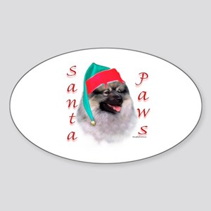 Santa Paws Keeshond Oval Sticker