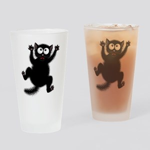 Funny Cat Cool Cartoon Cute Space C Drinking Glass