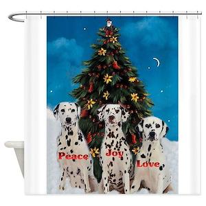 Dalmatian Christmas Shower Curtains