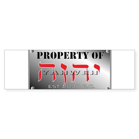 property of YHWH Sticker (Bumper)
