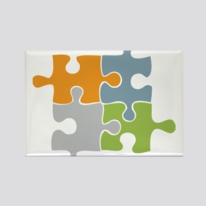 Team Work Puzzle Rectangle Magnet