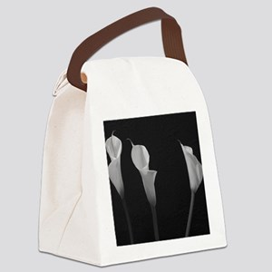 Black and White Lilies Canvas Lunch Bag