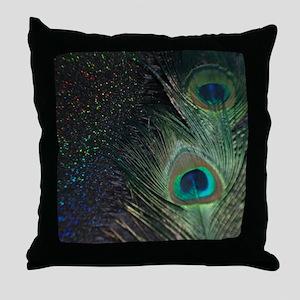Black Rainbow Peacock Throw Pillow
