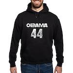 Vintage grunge white Obama 44 Hoodie (dark)