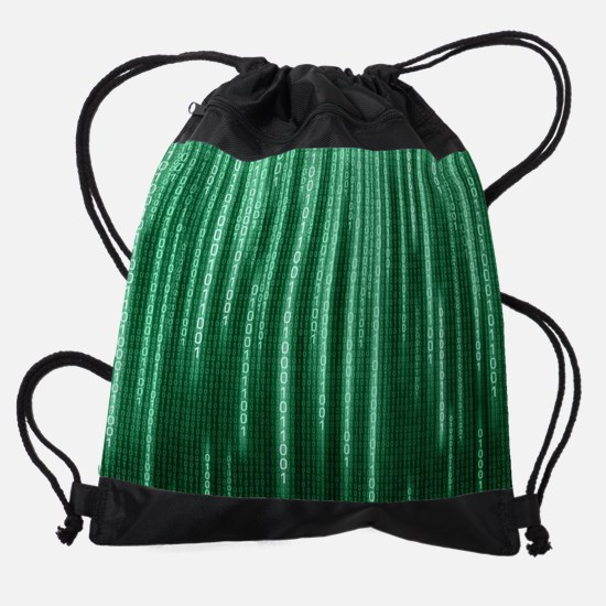 Green Binary Rain Drawstring Bag