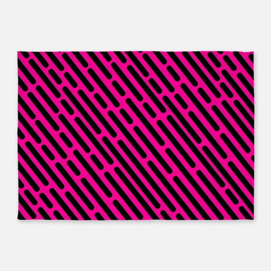 Striped lines purple and black geom 5'x7'Area Rug