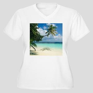 Tropical beach - Women's Plus Size V-Neck T-Shirt