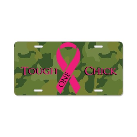 Camo Chick Breast Cancer Aluminum License Plate