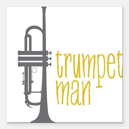 "Trumpet Man Square Car Magnet 3"" x 3"""