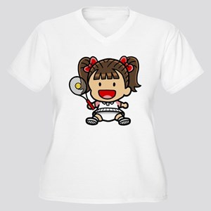 Baby Girl Tennis Player Women's Plus Size V-Neck T