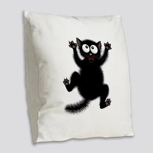 Funny Cat Cool Cartoon Cute Sp Burlap Throw Pillow