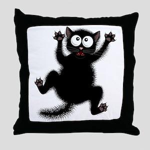 Funny Cat Cool Cartoon Cute Space Cat Throw Pillow