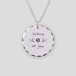 40th Anniversary (b&w) Necklace Circle Charm