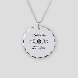 25th Anniversary (b&w) Necklace Circle Charm