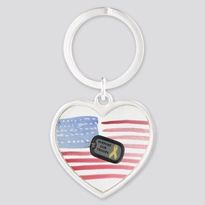 Support Our Troops Heart Keychain