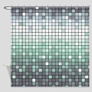 Silver Mosaic Shower Curtain