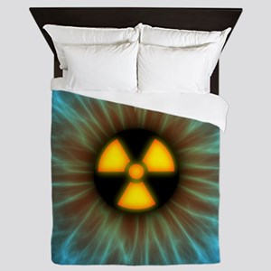 Iris with radiation warning sign - Queen Duvet
