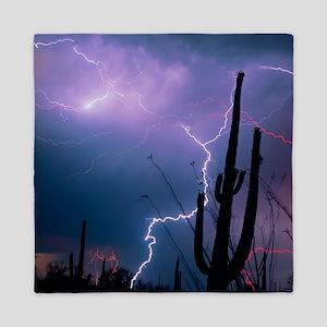Lightning storm over Tucson, Arizona - Queen Duvet