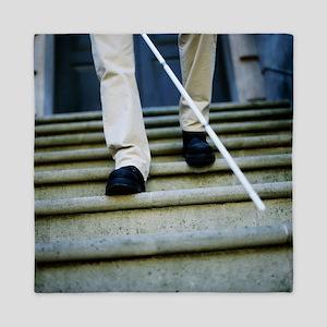 Blind man descending stairs - Queen Duvet