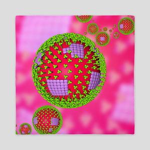 Influenza virus particles - Queen Duvet