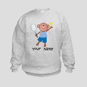 Personalized Tennis Monkey Kids Sweatshirt