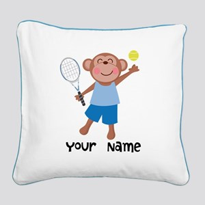 Personalized Tennis Monkey Square Canvas Pillow