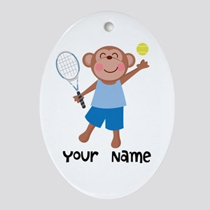 Personalized Tennis Monkey Ornament (Oval)