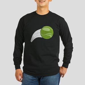 Tennis Ball Flying Long Sleeve Dark T-Shirt