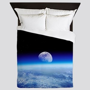 Moon rising over Earth's horizon - Queen Duvet