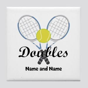 Personalized Tennis Doubles Tile Coaster
