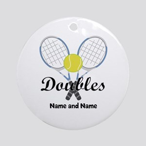 Personalized Tennis Doubles Ornament (Round)