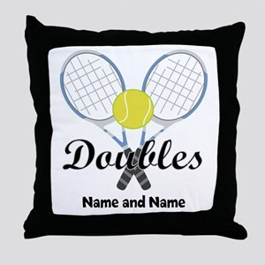 Personalized Tennis Doubles Throw Pillow