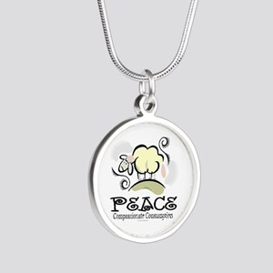Animal Compassion Silver Round Necklace