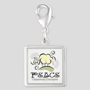 Animal Compassion Silver Square Charm