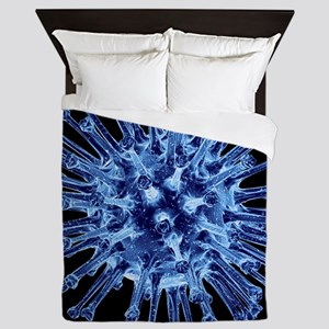 H1N1 flu virus particle, artwork - Queen Duvet