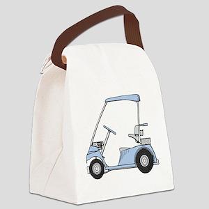 Blue Golf Cart Canvas Lunch Bag