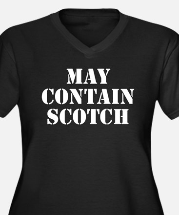 May Contain Scotch Women's Plus Size V-Neck Dark T