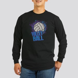 Volleyball Splatter Long Sleeve Dark T-Shirt