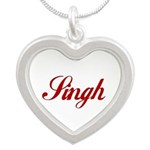 Singh name Silver Heart Necklace