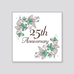 "25th Anniversary Floral Square Sticker 3"" x 3"""