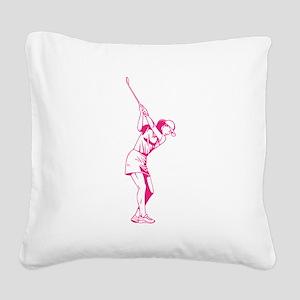 Female Golfer Square Canvas Pillow