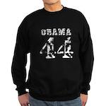 Distressed stencil white Obama 44 Sweatshirt (