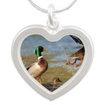 Mallard Flight Silver Heart Necklace
