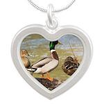 Mallard Ducks Silver Heart Necklace