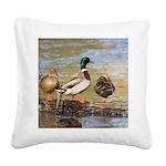 Mallard Ducks Square Canvas Pillow