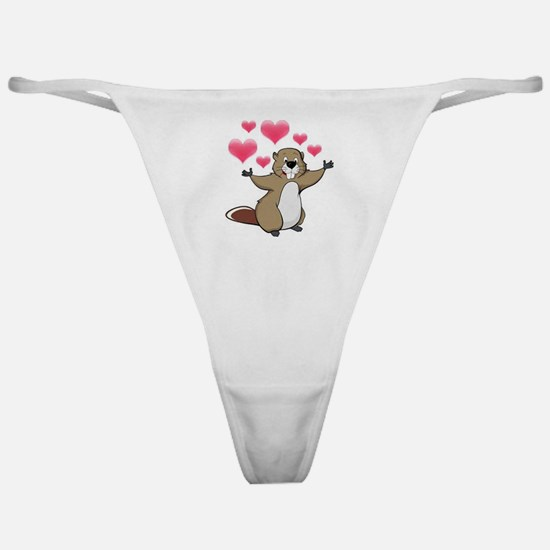 Beaver with Hearts Classic Thong