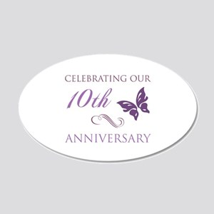 10th Anniversary (Butterfly) 20x12 Oval Wall Decal