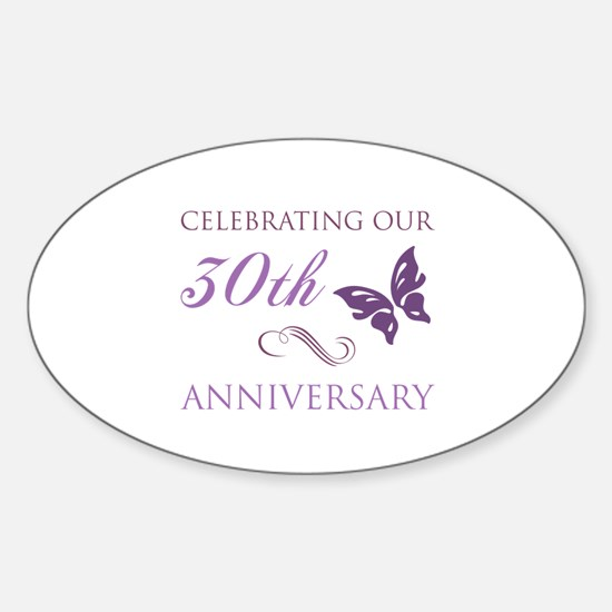 30th Anniversary (Butterfly) Sticker (Oval)